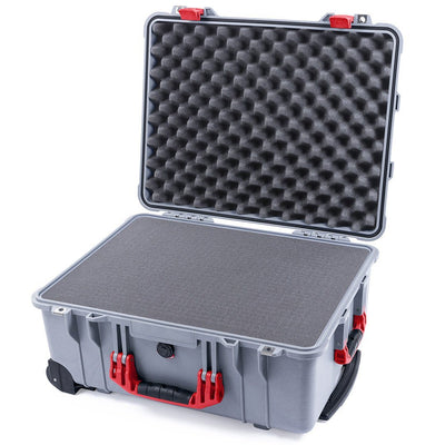 Pelican 1560 Case, Silver with Red Handles & Latches - Pelican Color Case