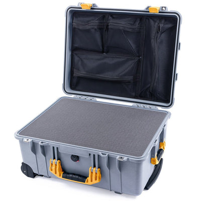 Pelican 1560 Case, Silver with Yellow Handles & Latches