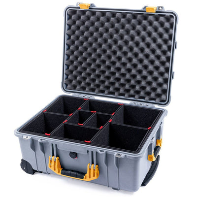 Pelican 1560 Case, Silver with Yellow Handles & Latches - Pelican Color Case