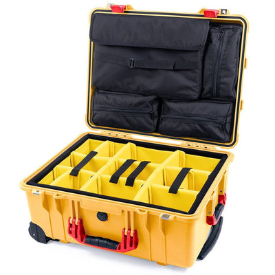 Pelican 1560 Case, Yellow with Red Handles & Latches - Pelican Color Case