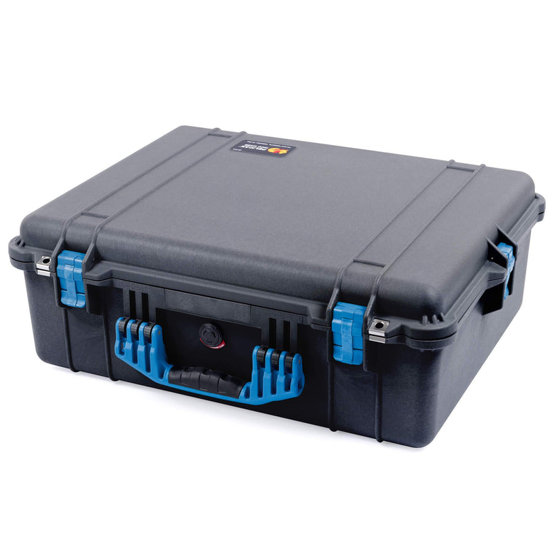 Pelican 1600 Case, Black with Blue Handle & Latches