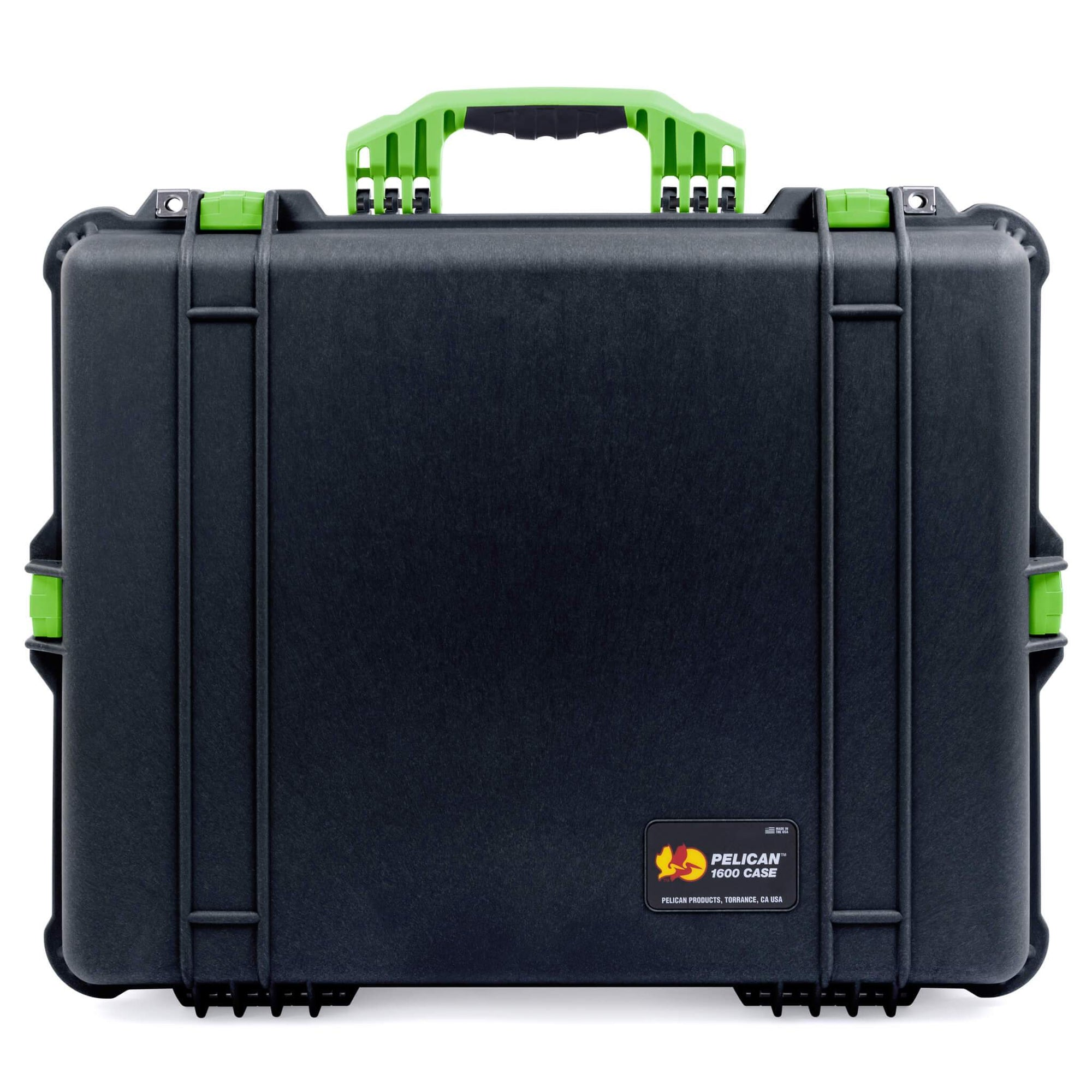 Pelican 1600 Case, Black with Lime Green Handle & Latches