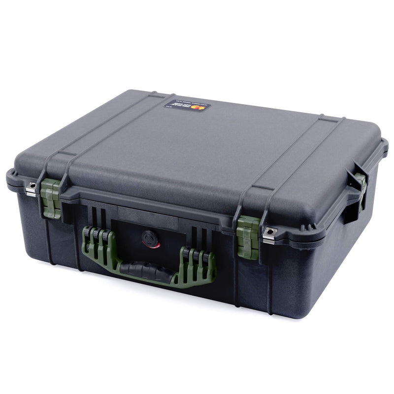 Pelican 1600 Case, Black with OD Green Handle & Latches