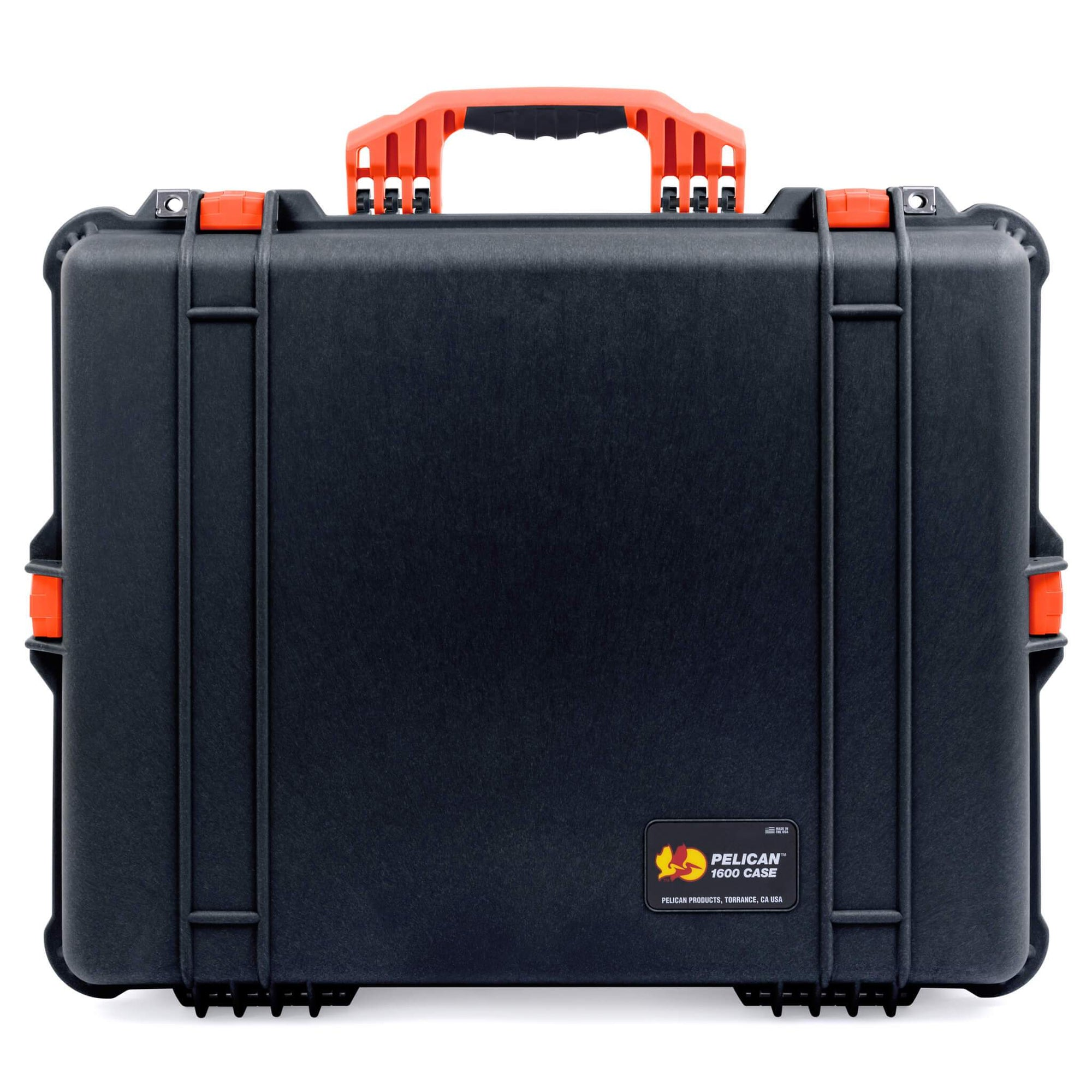 Pelican 1600 Case, Black with Orange Handle & Latches