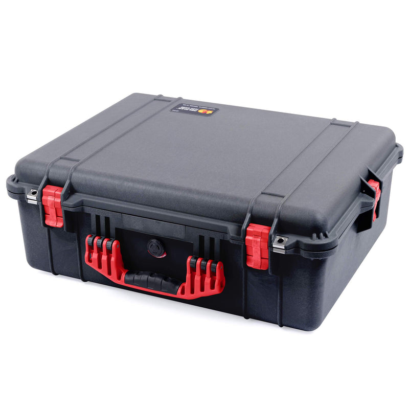 Pelican 1600 Case, Black with Red Handle & Latches