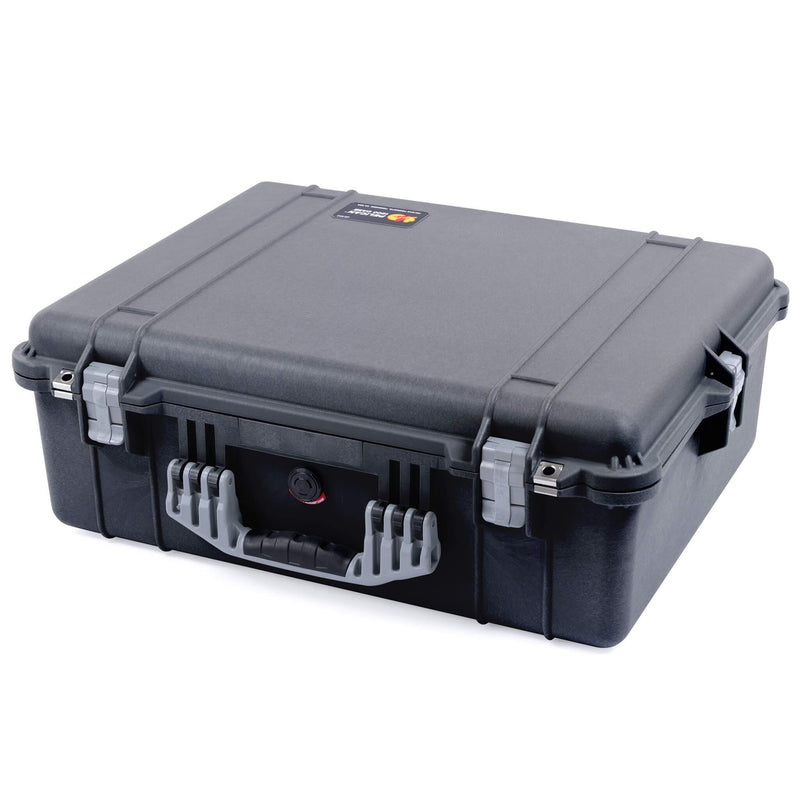 Pelican 1600 Case, Black with Silver Handle & Latches