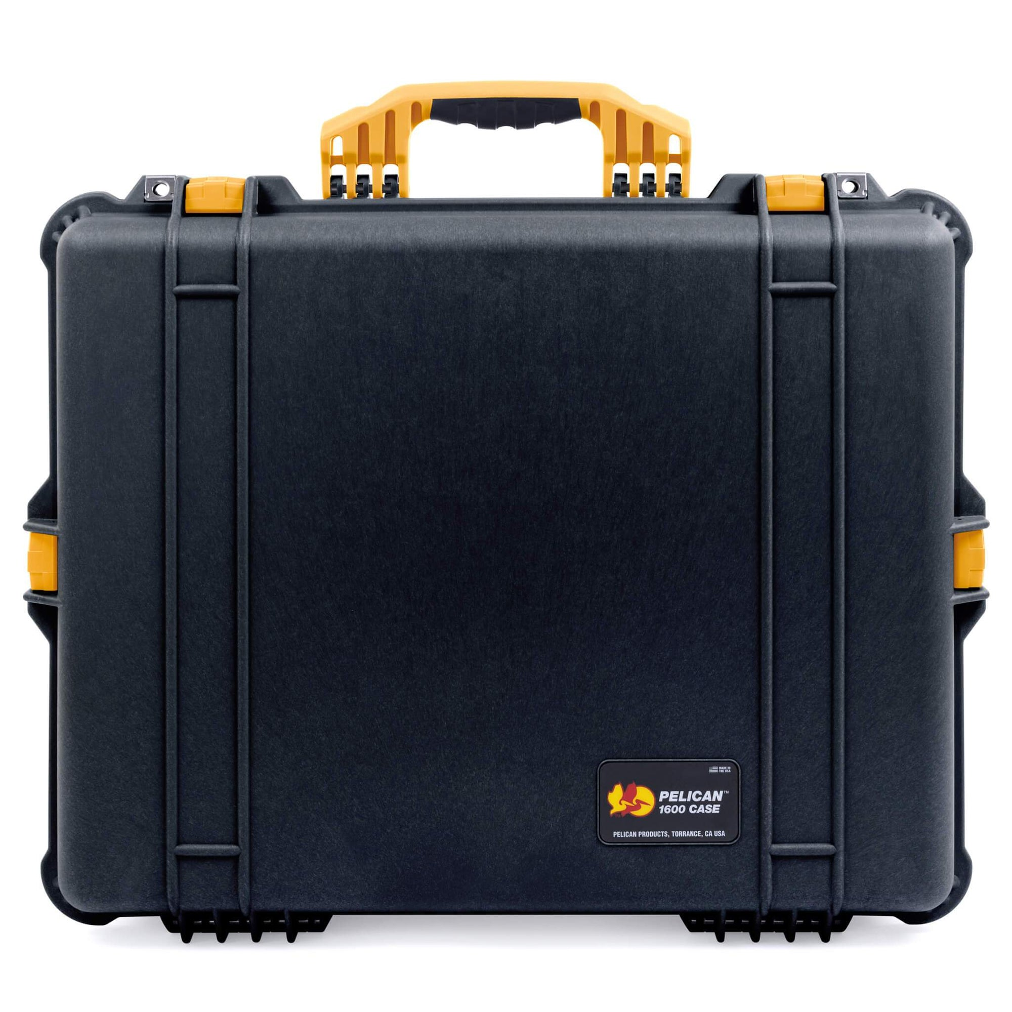 Pelican 1600 Case, Black with Yellow Handle & Latches