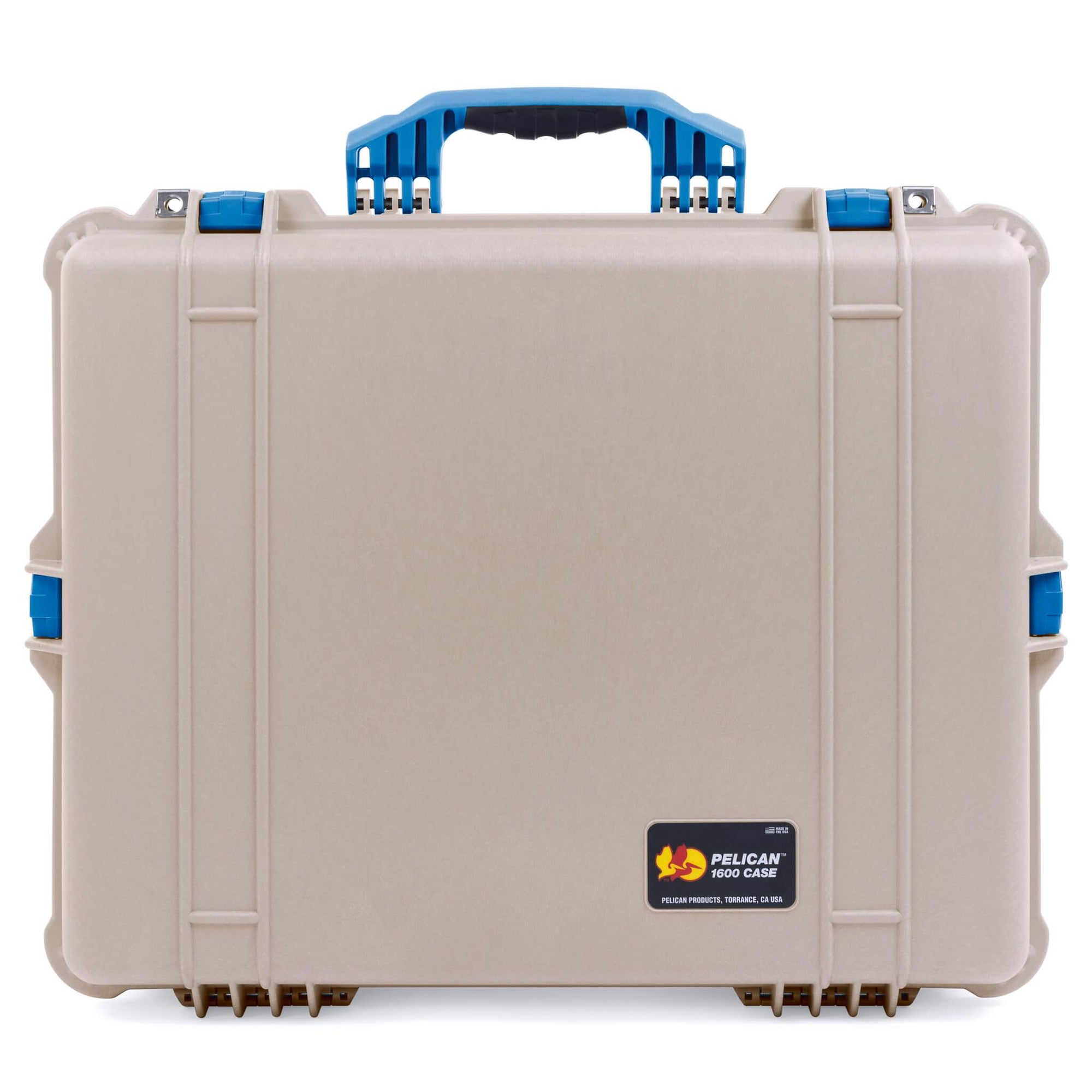 Pelican 1600 Case, Desert Tan with Blue Handle & Latches