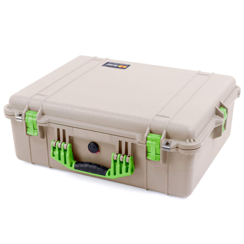 Pelican 1600 Case, Desert Tan with Lime Green Handle & Latches