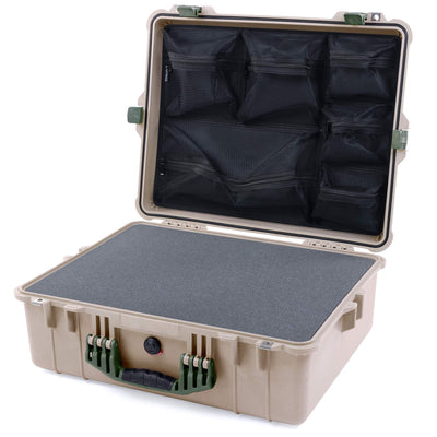 Pelican 1600 Case, Desert Tan with OD Green Handle & Latches