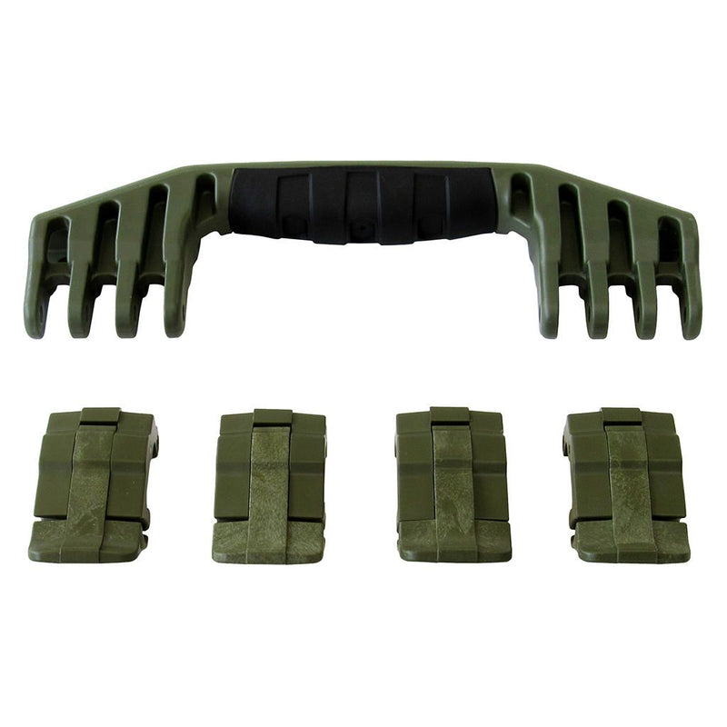 OD Green Replacement Handle & Latches for Pelican 1600, One OD Green Handle, 4 OD Green Latches - Pelican Color Case