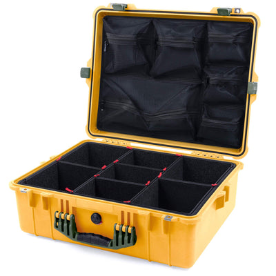 Pelican 1600 Case, Yellow with OD Green Handle & Latches