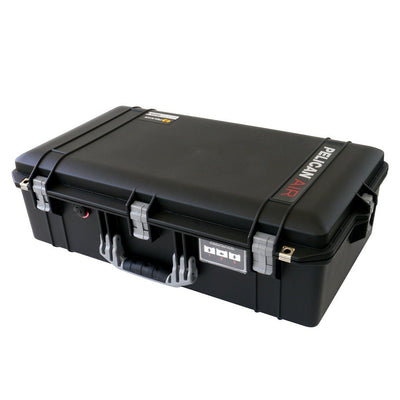 Pelican 1605 Air Colors Series, Black Air Case with Silver Gray Handles & Latches, Customizable Accessory Bundles