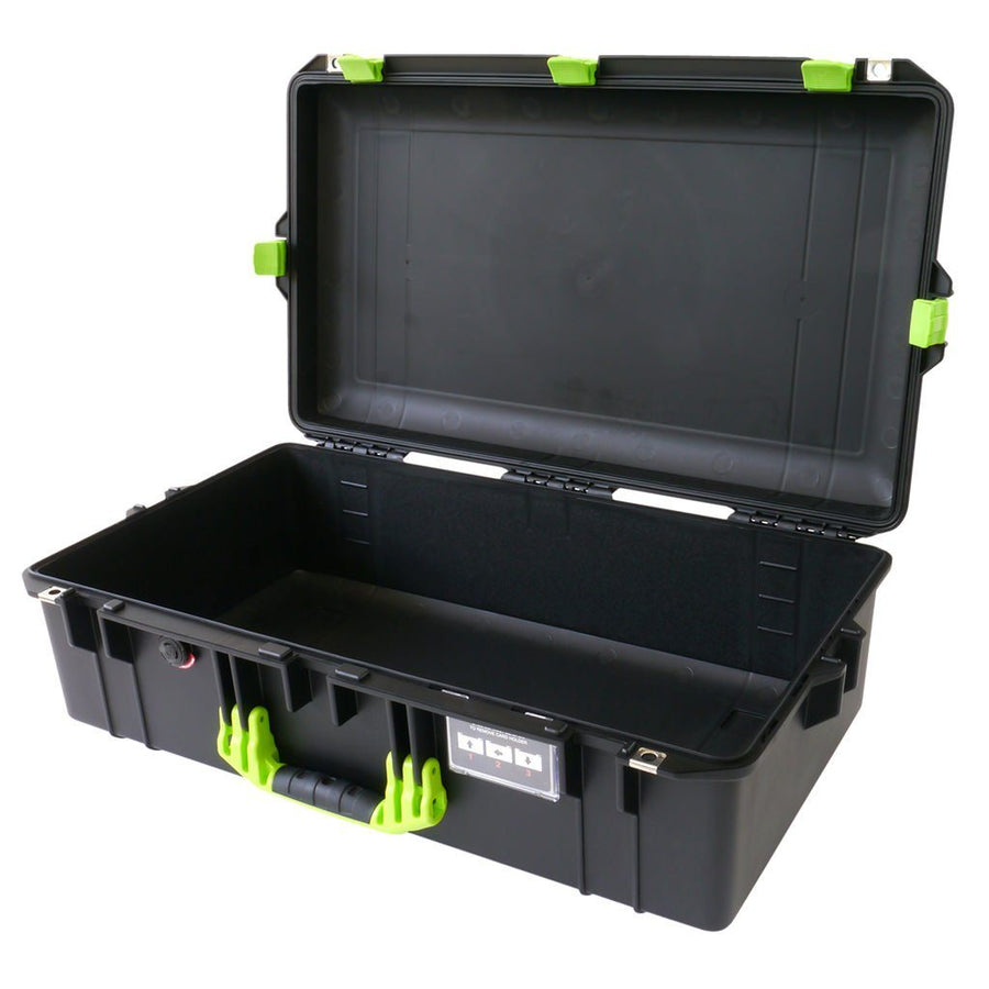 Pelican 1605 AIR COLORS Series, Black Protector Case with Lime Green Handles & Latches, Customizable Accessory Bundles