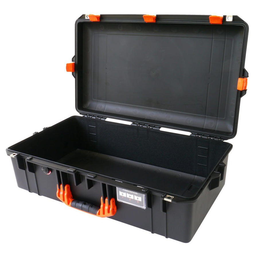 Pelican 1605 AIR COLORS Series, Black Protector Case with Orange Handles & Latches, Customizable Accessory Bundles