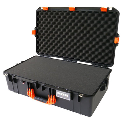 Pelican 1605 Air Case, Black with Orange Handle & Latches - Pelican Color Case