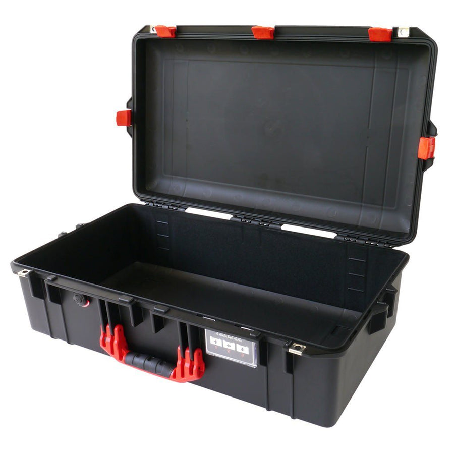 Pelican 1605 AIR COLORS Series, Black Protector Case with Red Handles & Latches, Customizable Accessory Bundles