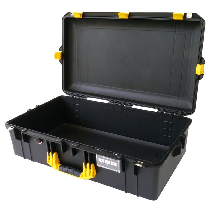 Pelican 1605 AIR COLORS Series, Black Protector Case with Yellow Handles & Latches, Customizable Accessory Bundles