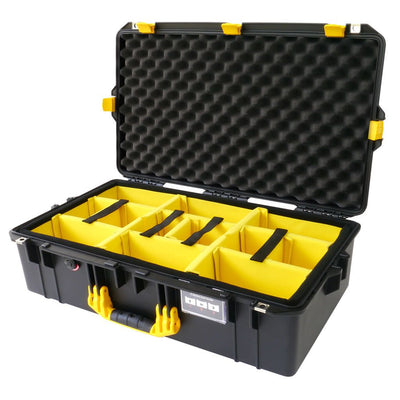 Pelican 1605 Air Colors Series, Black Air Case with Yellow Handles & Latches, Customizable Accessory Bundles