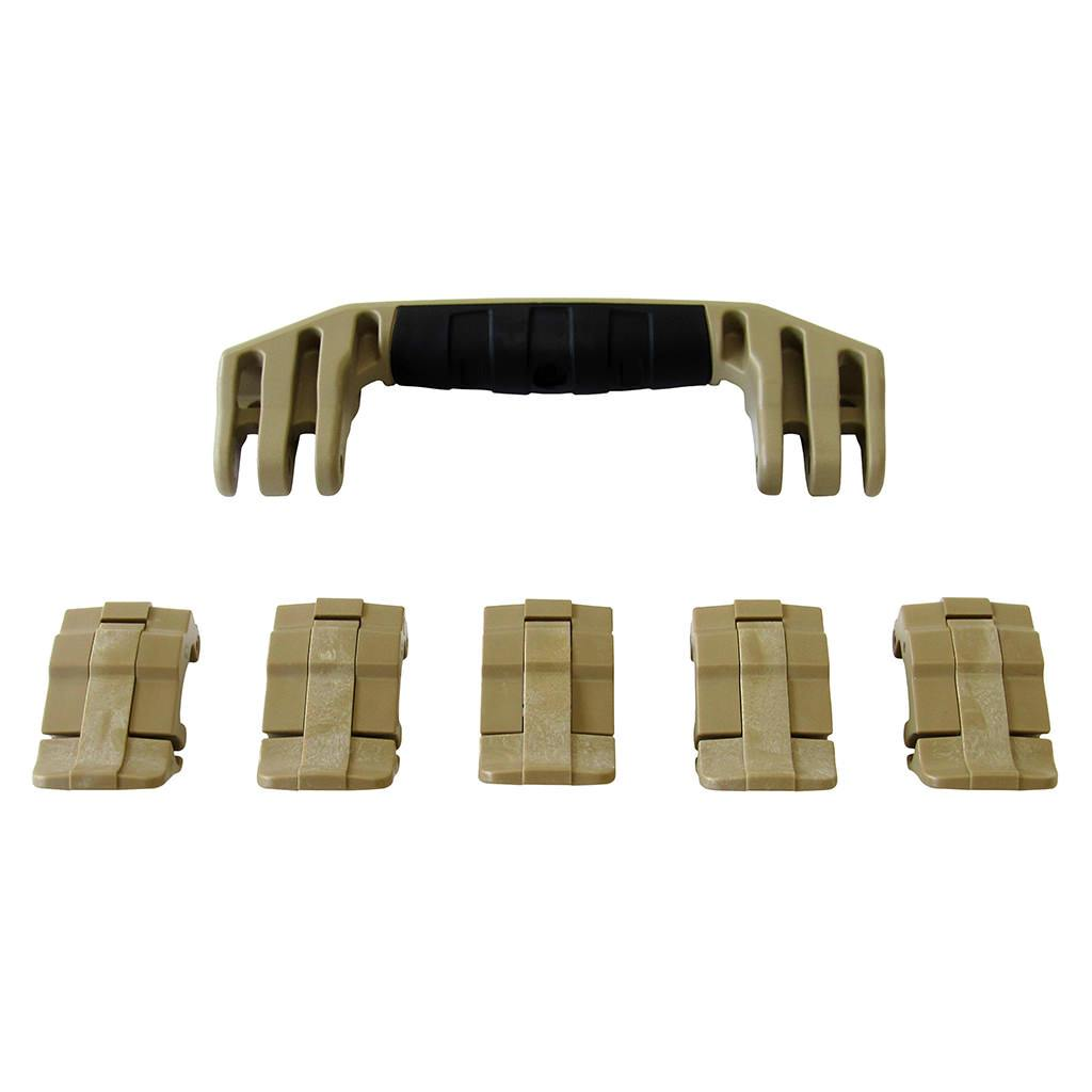 Desert Tan Replacement Handles & Latches for Pelican 1605 Air, One Desert Tan Handle, 5 Desert Tan Latches - Pelican Color Case
