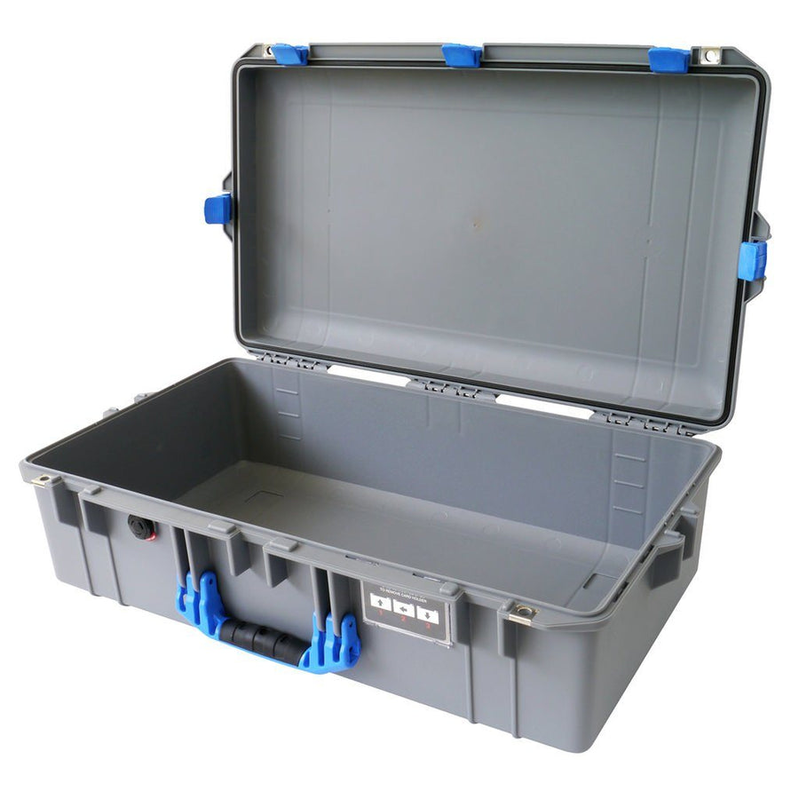 Pelican 1605 AIR COLORS Series, Silver Gray Protector Case with Blue Handles & Latches, Customizable Accessory Bundles