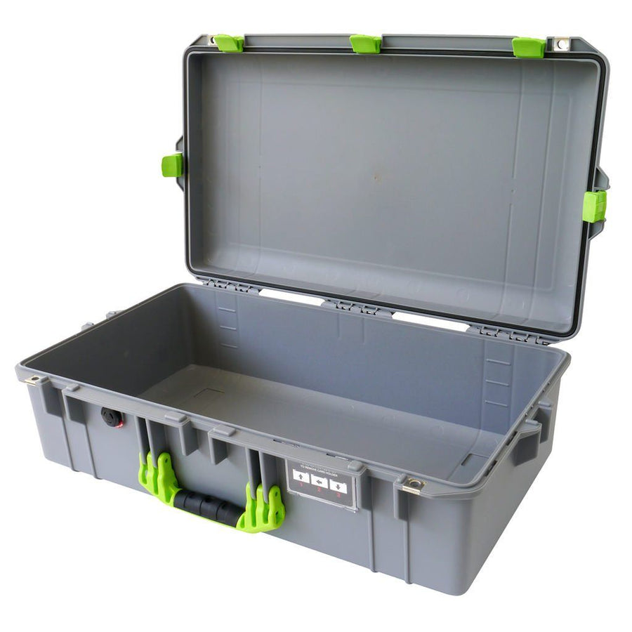 Pelican 1605 AIR COLORS Series, Silver Gray Protector Case with Lime Green Handles & Latches, Customizable Accessory Bundles