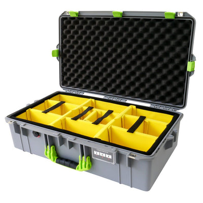 Pelican 1605 Air Colors Series, Silver Gray Air Case with Lime Green Handles & Latches, Customizable Accessory Bundles