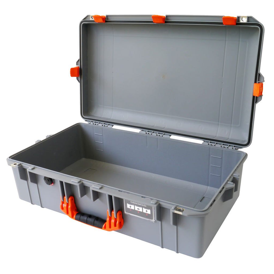 Pelican 1605 AIR COLORS Series, Silver Gray Protector Case with Orange Handles & Latches, Customizable Accessory Bundles
