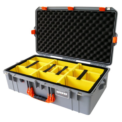 Pelican 1605 Air Case, Silver with Orange Handle & Latches - Pelican Color Case