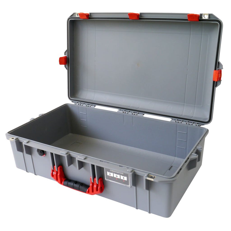 Pelican 1605 AIR COLORS Series, Silver Gray Protector Case with Red Handles & Latches, Customizable Accessory Bundles