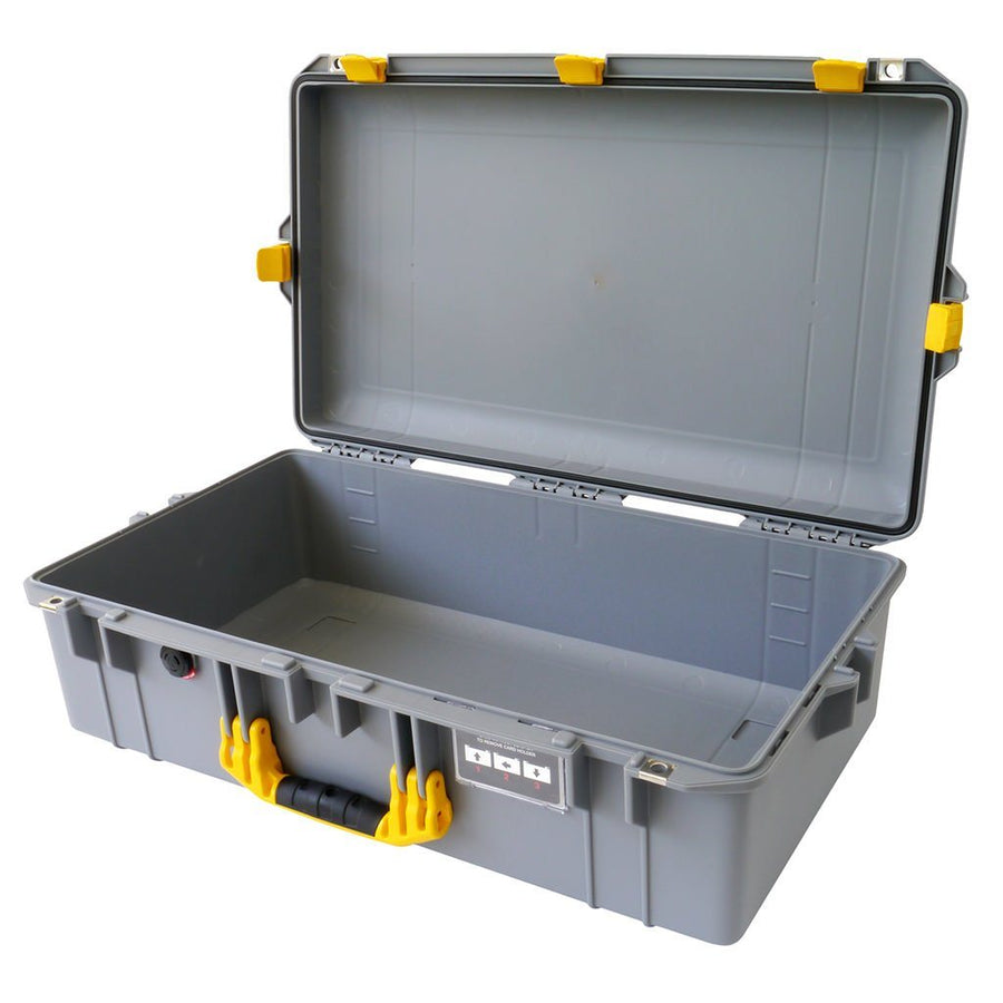Pelican 1605 AIR COLORS Series, Silver Gray Protector Case with Yellow Handles & Latches, Customizable Accessory Bundles