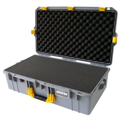 Pelican 1605 Air Colors Series, Silver Gray Air Case with Yellow Handles & Latches, Customizable Accessory Bundles
