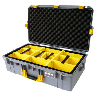 Pelican 1605 Air Case, Silver with Yellow Handle & Latches - Pelican Color Case
