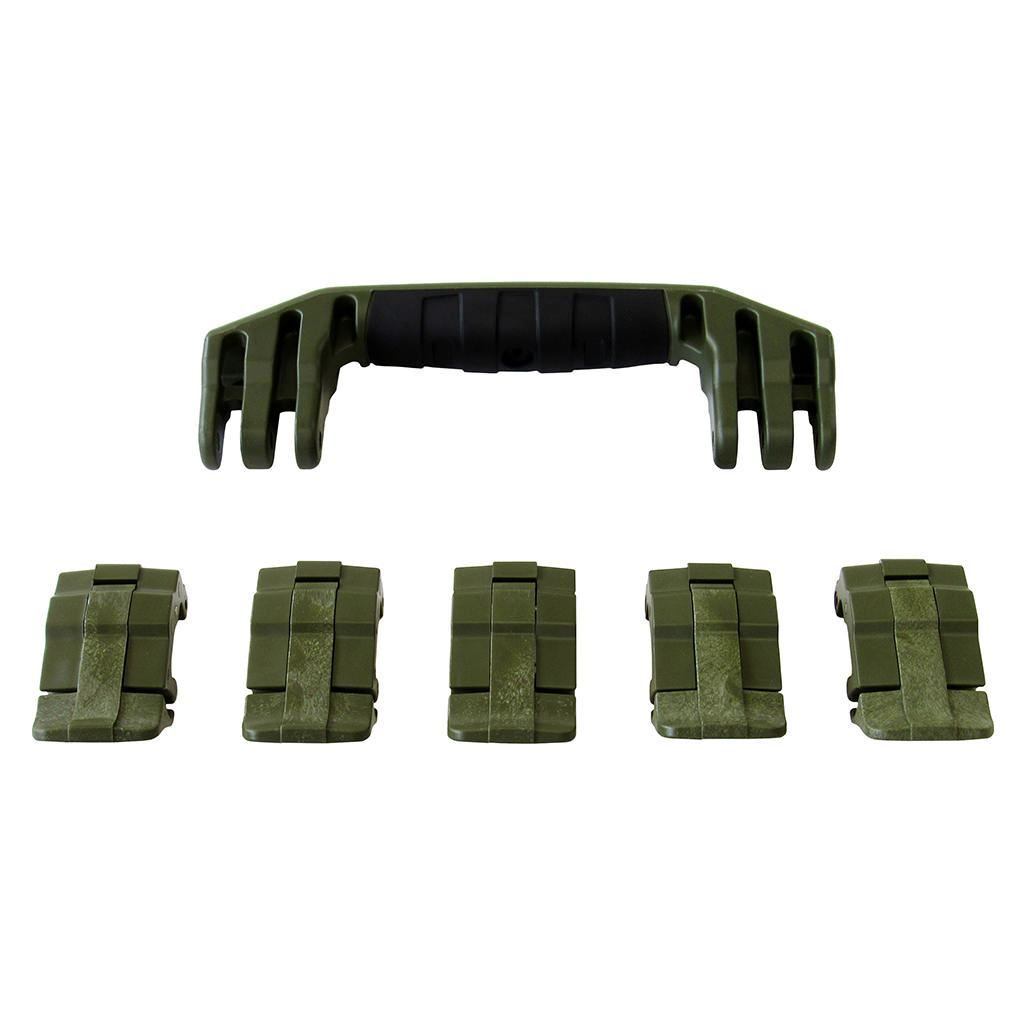 OD Green Replacement Handles & Latches for Pelican 1605 Air, One OD Green Handle, 5 OD Green Latches - Pelican Color Case