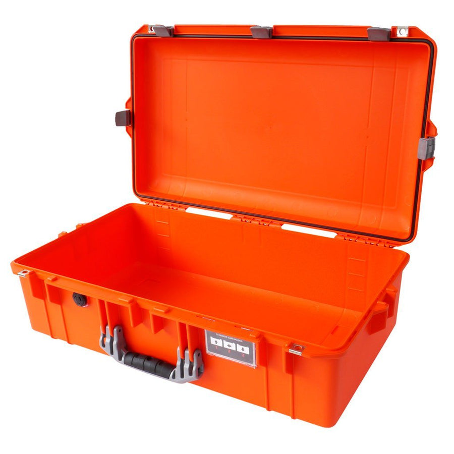 Pelican 1605 AIR COLORS Series, Orange Protector Case with Silver Gray Handles & Latches, Customizable Accessory Bundles