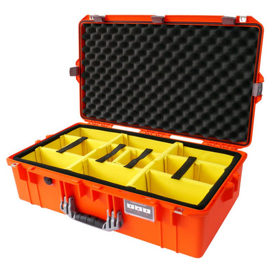 Pelican 1605 Air Colors Series, Orange Air Case with Silver Gray Handles & Latches, Customizable Accessory Bundles