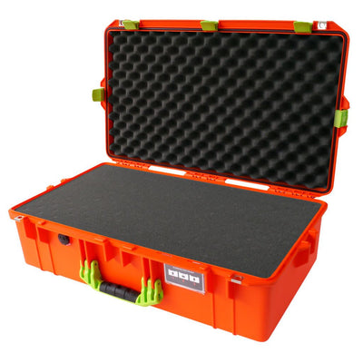 Pelican 1605 Air Colors Series, Orange Air Case with Lime Green Handles & Latches, Customizable Accessory Bundles