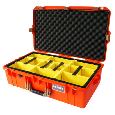 Pelican 1605 Air Colors Series, Orange Air Case with Desert Tan Handles & Latches, Customizable Accessory Bundles
