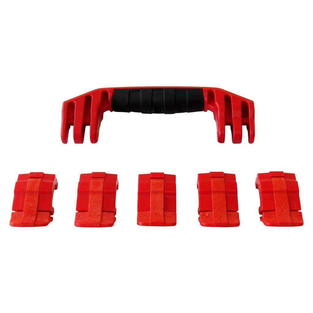 Red Replacement Handles & Latches for Pelican 1605 Air, One Red Handle, 5 Red Latches - Pelican Color Case