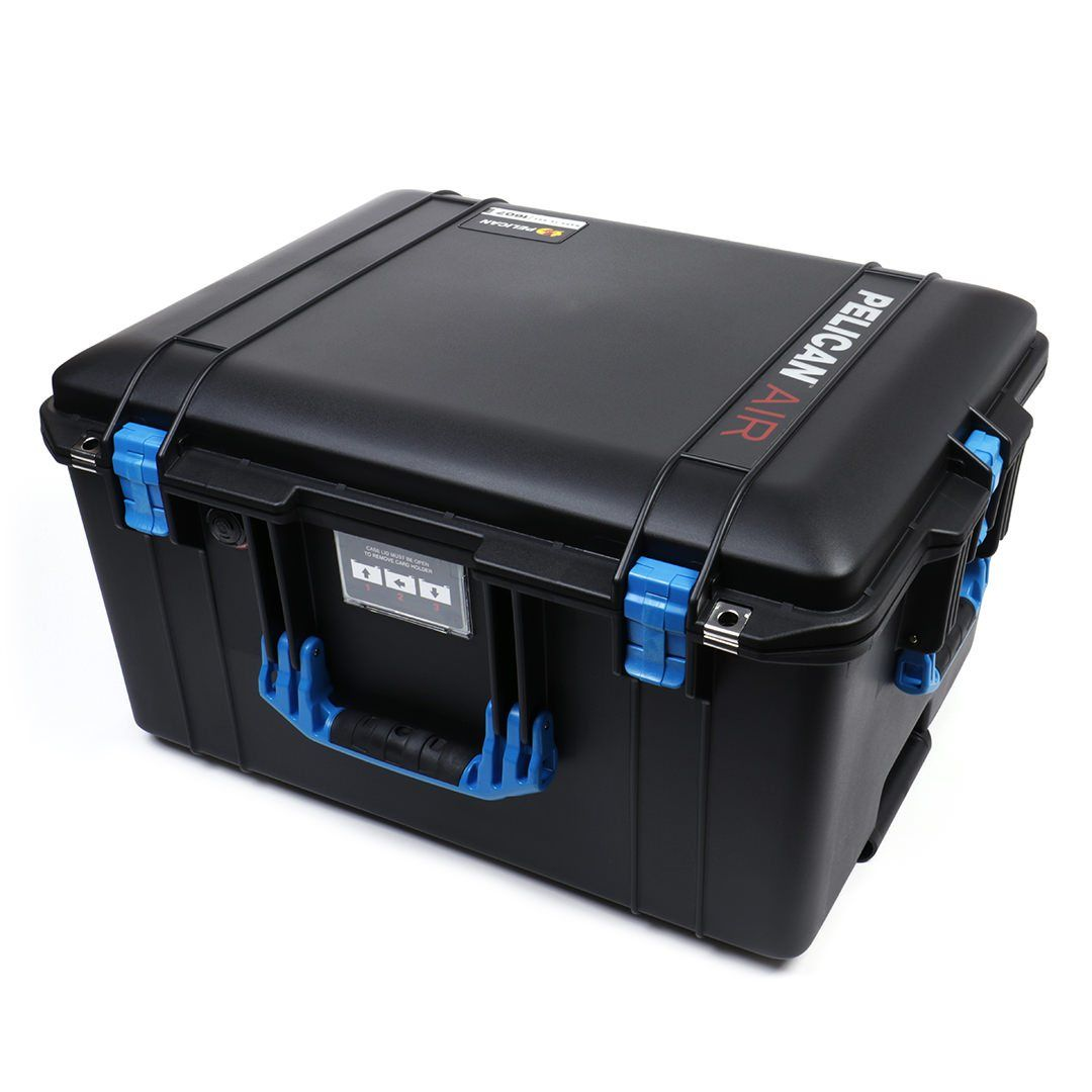 Pelican 1607 Air Case, Black with Blue Handles & Latches - Pelican Color Case