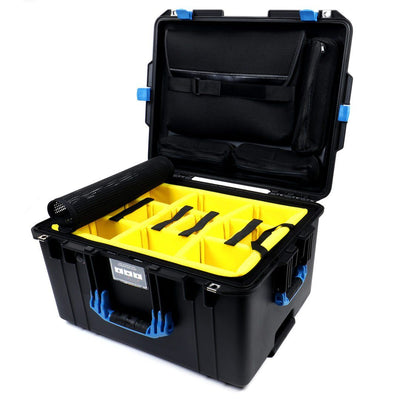 Pelican 1607 Air Colors Series, Black Rolling Air Case with Blue Handles & Latches, Customizable Accessory Bundles