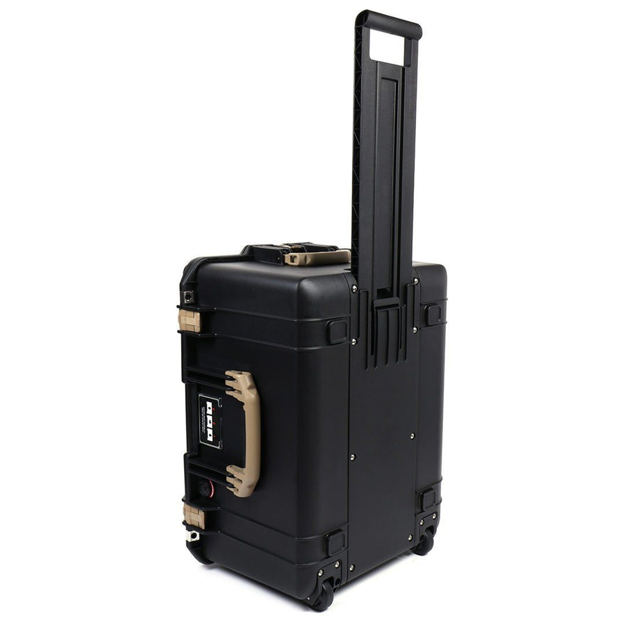 Pelican 1607 Air Colors Series, Black Rolling Air Case with Desert Tan Handles & Latches, Customizable Accessory Bundles
