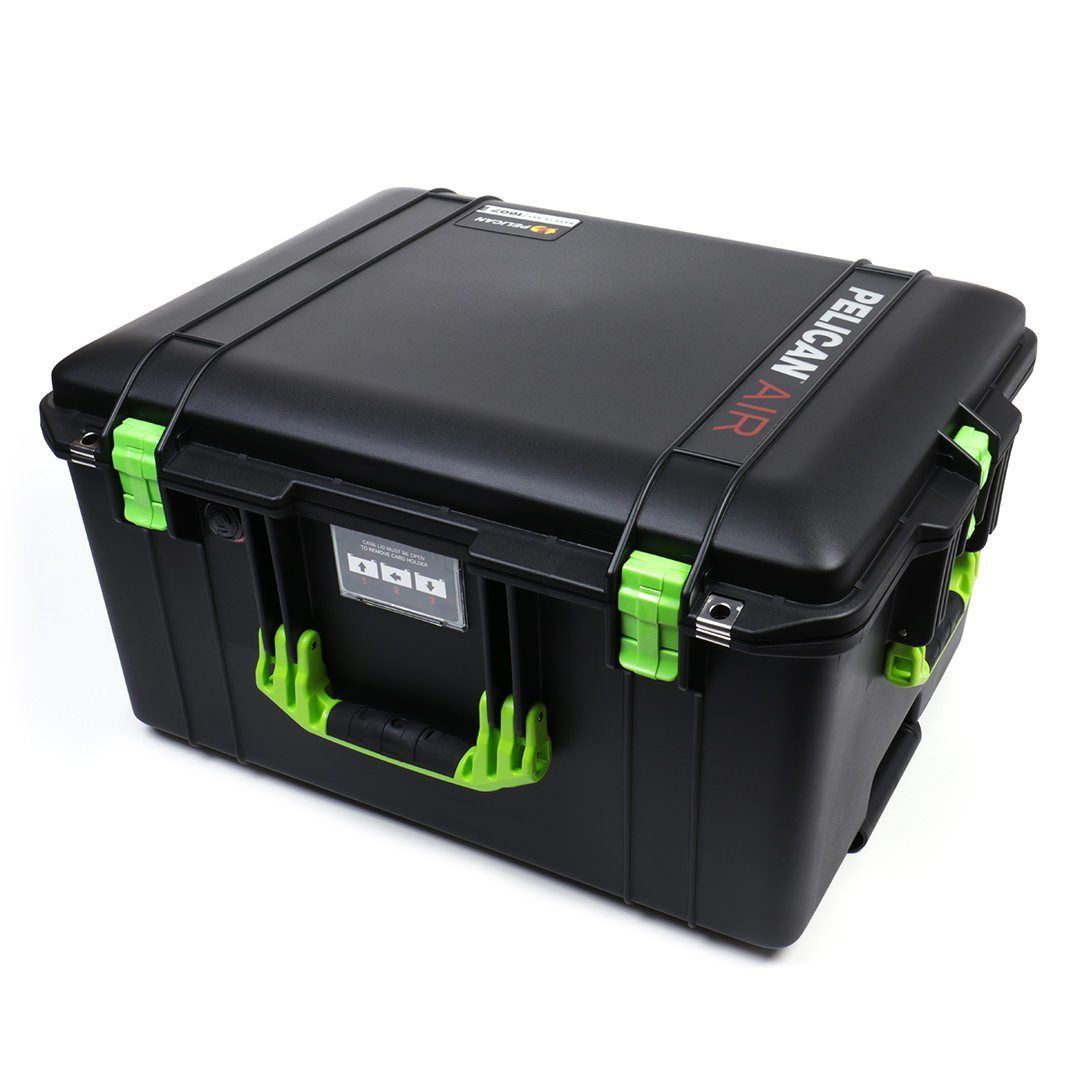 Pelican 1607 Air Case, Black with Lime Green Handles & Latches - Pelican Color Case