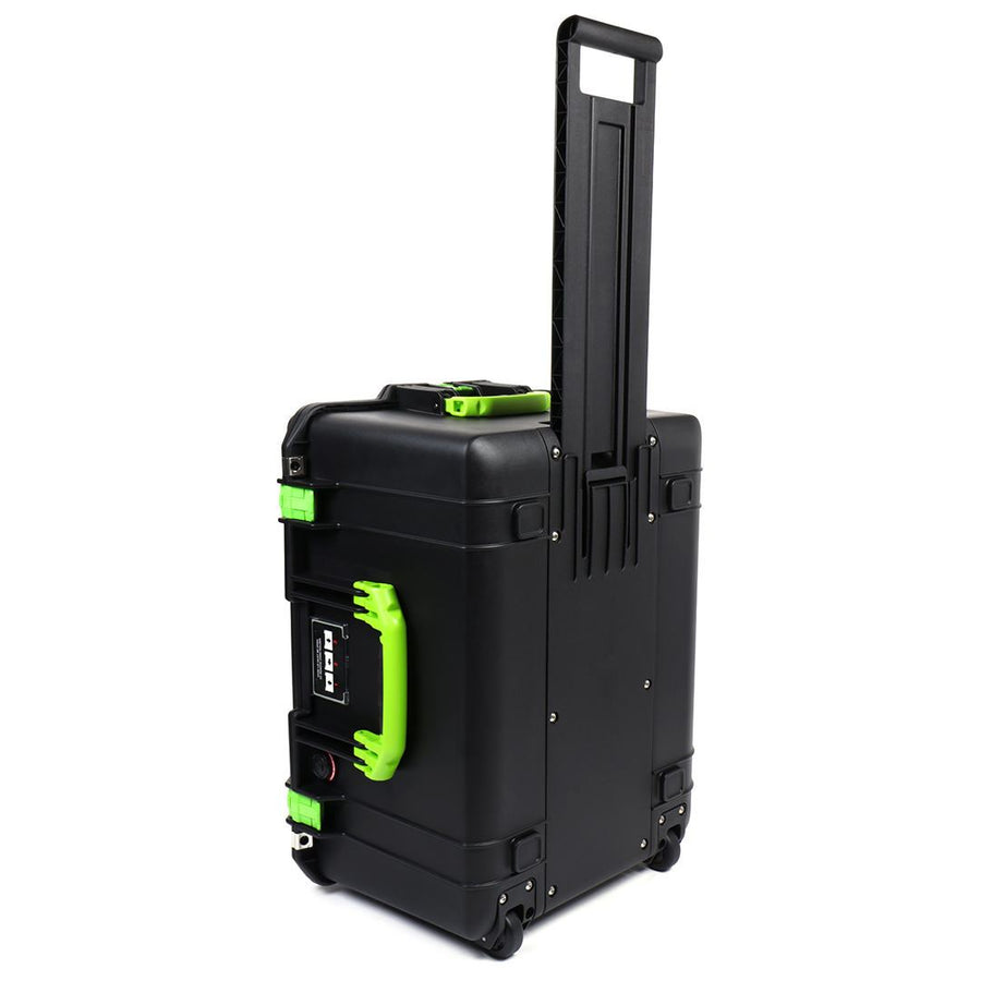 Pelican 1607 Air Colors Series, Black Rolling Air Case with Lime Green Handles & Latches, Customizable Accessory Bundles