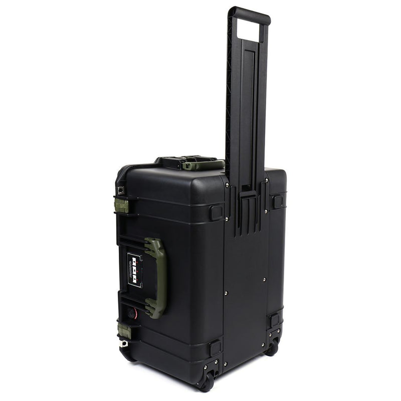 Pelican 1607 Air Colors Series, Black Rolling Air Case with OD Green Handles & Latches, Customizable Accessory Bundles