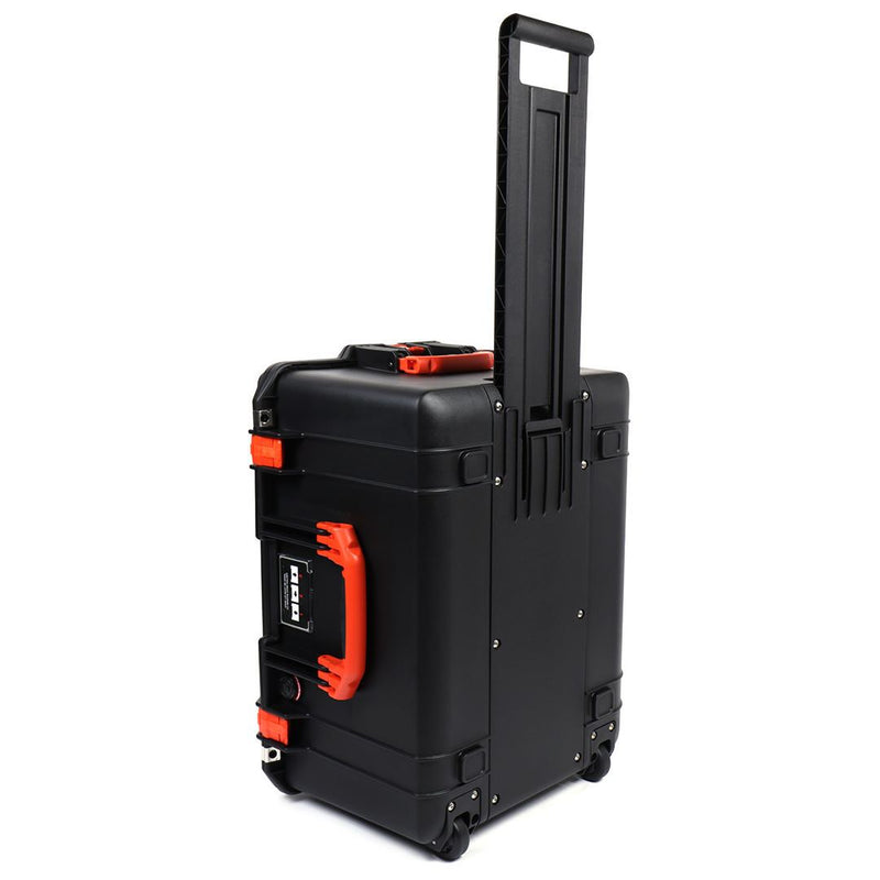 Pelican 1607 Air Colors Series, Black Rolling Air Case with Orange Handles & Latches, Customizable Accessory Bundles