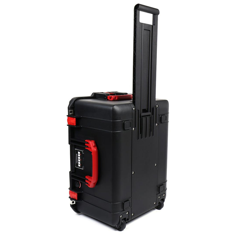 Pelican 1607 Air Colors Series, Black Rolling Air Case with Red Handles & Latches, Customizable Accessory Bundles