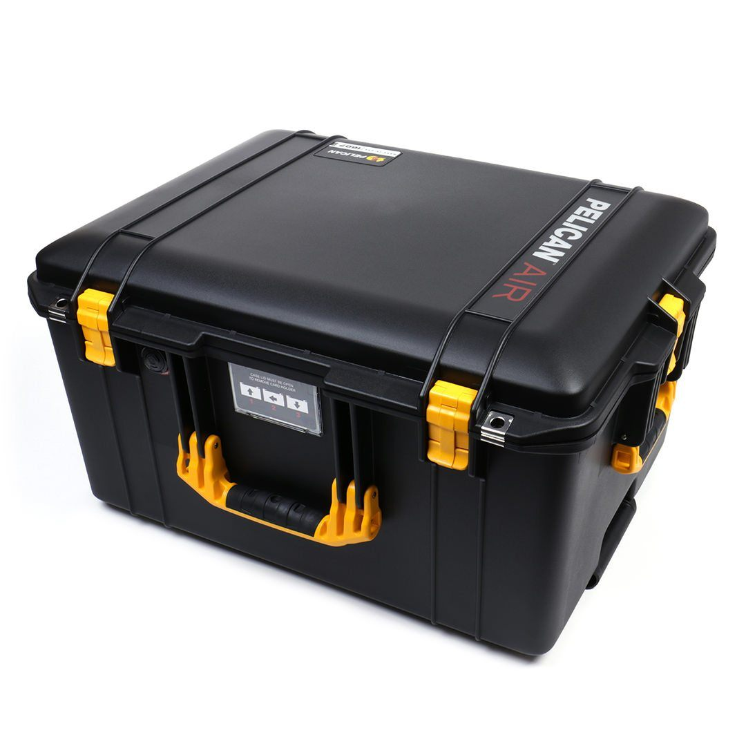Pelican 1607 Air Colors Series, Black Rolling Air Case with Yellow Handles & Latches, Customizable Accessory Bundles