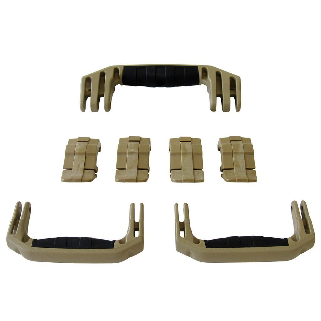 Desert Tan Replacement Handles & Latches for Pelican 1607 Air, 3 Desert Tan Handles, 4 Desert Tan Latches - Pelican Color Case