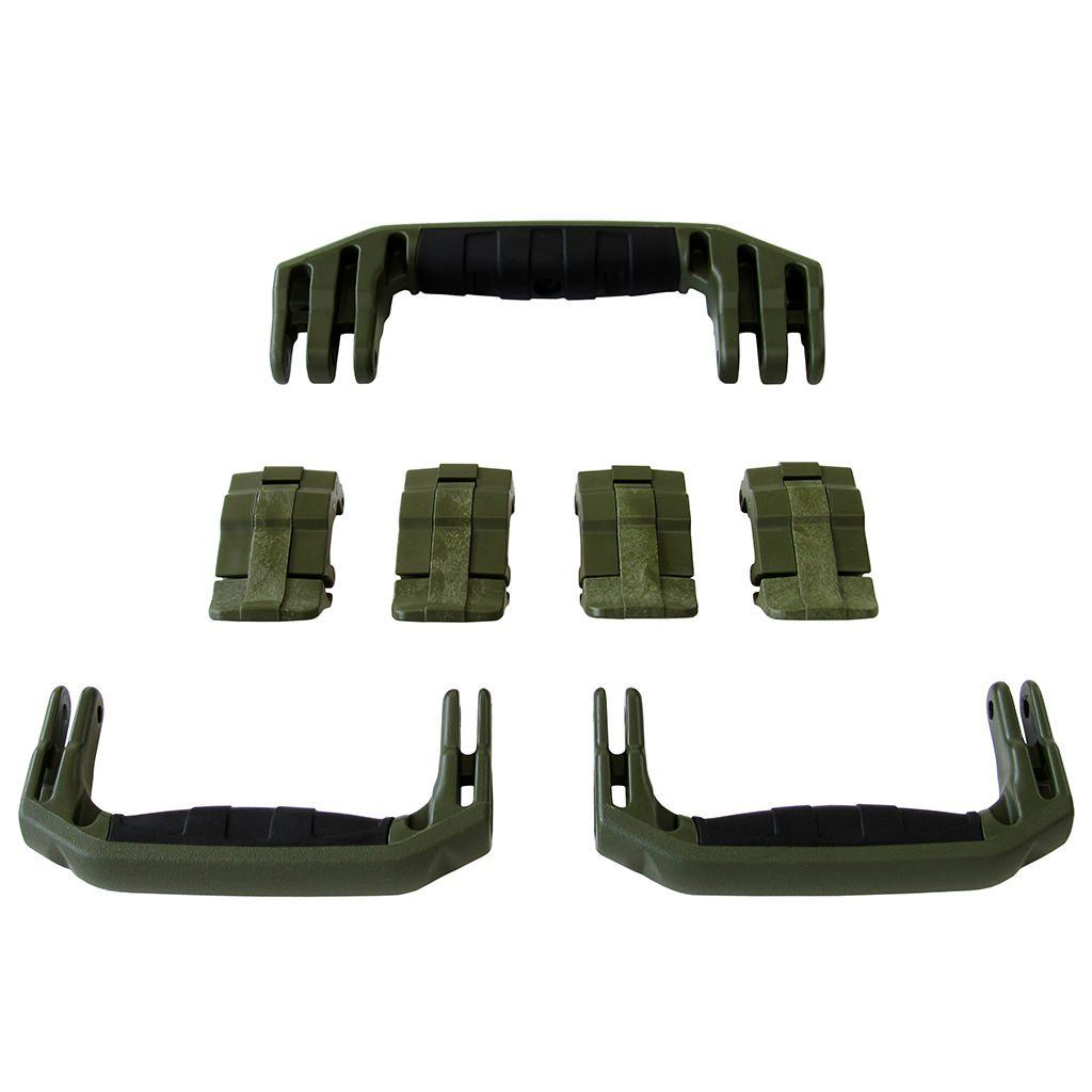 OD Green Replacement Handles & Latches for Pelican 1607 Air, 3 OD Green Handles, 4 OD Green Latches - Pelican Color Case